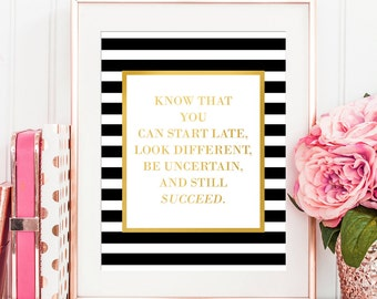 Kate Spade Inspired Decor - Gold Foil Print - Misty Copeland Inspirational Quote - Success Quotes - Girls Room Decor - Girls Room Wall Art