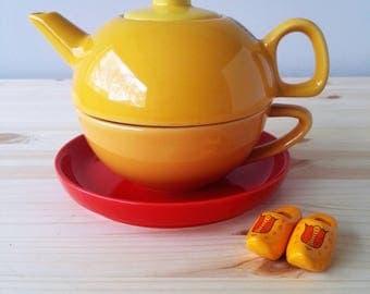 Alex Meijer Tea For One - Coffee Pot Teapot Set for One - Three Piece Teapot Coffeepot Set - Two in One Teapot