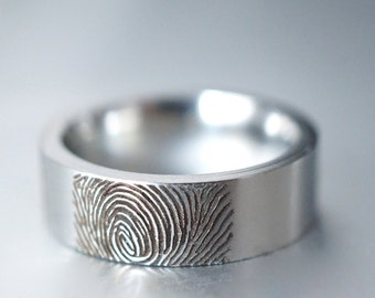 Actual Fingerprint Ring, Custom Finger Print Ring, Wedding Band, Engraved Ring, Silver Memorial Jewelry, Stainless Steel Ring