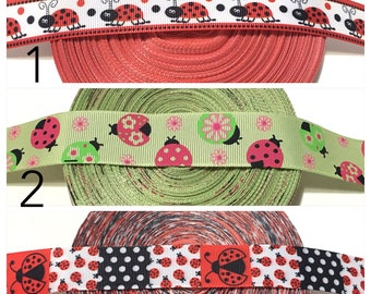 Insect Ribbon, red Lady Bug Ribbon by the Yard, red ladybug Ribbon, Bugs Ribbon, Bug grosgrain Ribbon