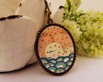 Magic Whale Necklace. Lovely Vintage Handmade Hand Painted  Cameo Necklace Polymer Clay Jewelry Pendant Nickel Free Metal