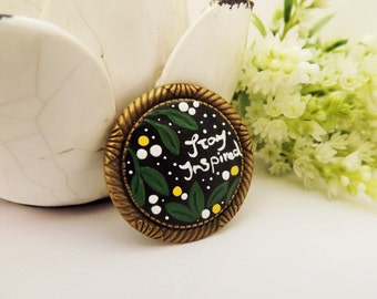 Stay Inspired Brooch. Lovely Vintage Hand Painted Cameo Brooch Polymer Clay Jewelry Nickel Free Antique Bronze