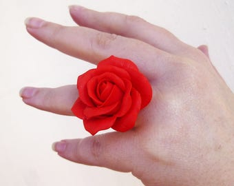 Red ring Large red ring Jewelry rose Flower ring Rose ring Scarlet jewelry Large ring Gift for women Cute ring Handmade rose Size 7