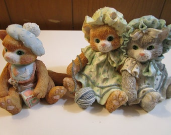 Cherished Teddies Calico Kittens Set Of 2 Figurines Vintage 1992 Enesco Corp. by Priscilla Hillman