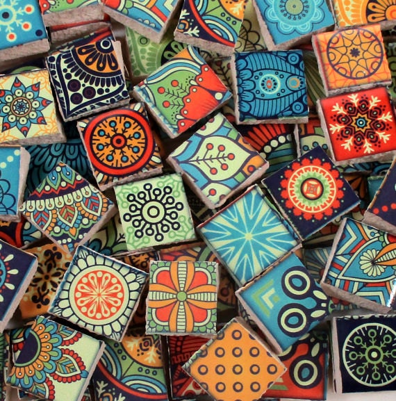 ceramic mosaic tiles bright colors medallions moroccan tile mosaic blue green yellow red 90 pieces mosaic art mixed media artjewelry