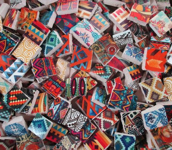 Ceramic mosaic tiles 2 pounds mixed boho tribal designs for Craft mosaic tiles bulk