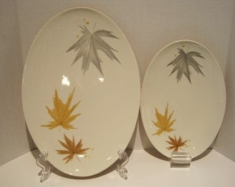 2 Vintage Iroquois Informal China Harvest Time Ben Seibel design Oval Platters 10in - 12 in