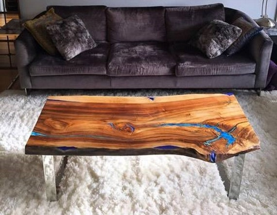 Live Edge Coffee Table With Glowing Resin Fillin