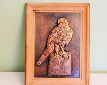 Vintage Framed 3D Hammered Copper Picture Eagle Metal Wall Art Embossed Copper Art
