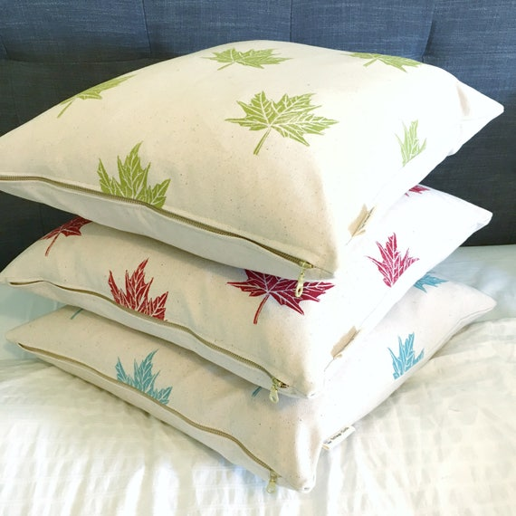 Organic canvas pillow with maple leaves, 18 inch square, custom colours available! Happy Birthday Canada!