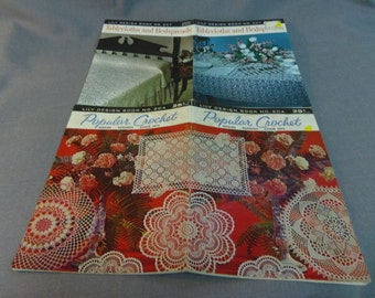 Crochet Patterns, Tablecloths and Bedspreads and Popular Crochet, Lily Designs Book No 204 and 207, 1961
