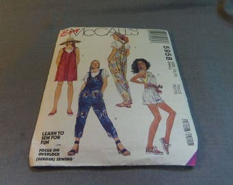 Womans Novelty Overalls in 3 lengths, Size Small (10, 12)  Uncut Pattern, McCalls Easy 5958
