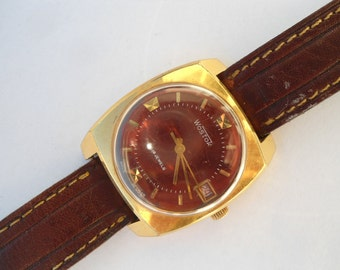 Vintage watch Wostok, men's watch Wostok, wrist watch Wostok, gold-plated watch Wostok, Soviet watch Wostok, mechanical watch Wostok