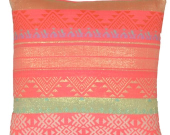 Cushion Covers Bright Pink Green Gold Tribal Cotton European 40cm Large 60cm