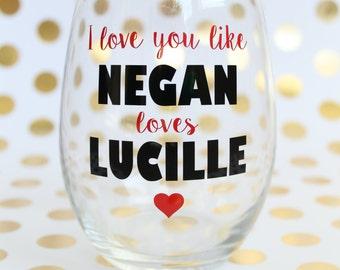 The Walking Dead Valentineu0027s Wine Glass  Negan Wine Glass   Valentineu0027s Day  Wine Glass