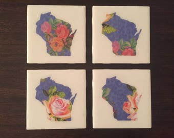 Floral Wisconsin Map Tile Coasters