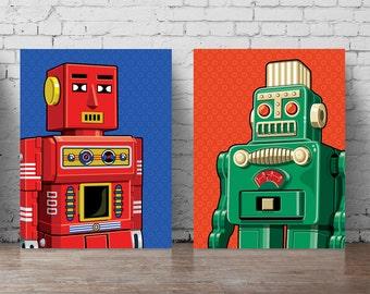 affiche de robot set a5 a0 grand mur autocollant robot wall art robots imprimer ensemble pour les garons chambre garon chambre affiche minimaliste jouet - Affiche Garcon Robot