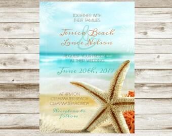 BEACH Wedding Invitation - Custom - Printable
