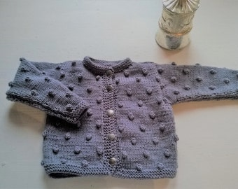 Woolen girl's sweater, grey hand knitted cardigan, warm wool popcorn bobble xmas fall winter
