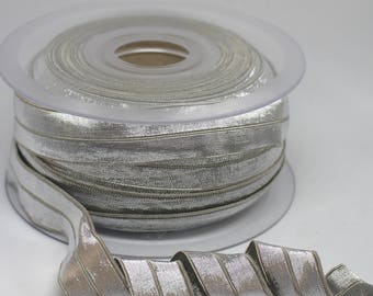 Silver Metallic Fold Over Elastic - 2cm wide