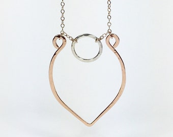 Juno Bronze and Sterling Silver Teardrop Necklace