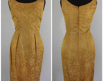 Vintage 1950s Brocade Shift Dress - 50s 60s Gold Brocade Wiggle Dress - Size Small