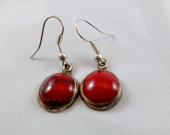 Vintage Red Gemstone Sterling Silver .925 Earrings