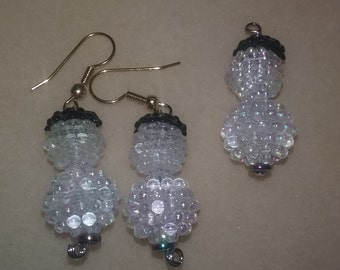 snow man set earring and necklace