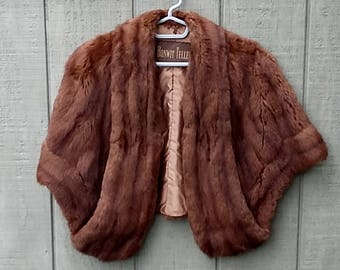 Vintage Mink Fur Cape Stole Capelet, Bonwit Teller Chocolate Brown