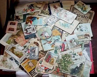 55 Pcs. Antique Victorian Paper Trade Cards, Calling Cards Greeting Cards