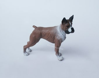 1/12 Scale Miniature Boxer Dog Collectible Cute Pet Doggy Figurine Model Toy