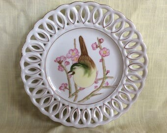 Delicate wall hanging plate with bird and oriental apple blossom flowers wall decor