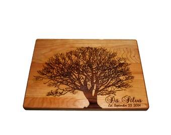 "Personalized Cutting Board, Family Tree, 12"" x 9"" Maple Cutting Board"