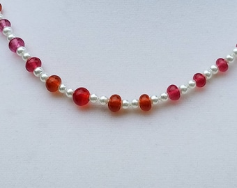 Torch-Work Cranberry Glass Beads with Glass Pearls