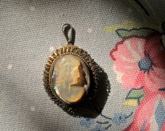 Antique Handcarved Shell Cameo Pendant