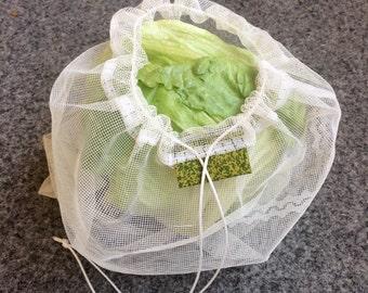 Upcycled & Reusable GREEN Re.Vrečka. ~ Shopping Storing bag, Fruits, Vegetables Lace bag, Eco friendly, Farmers Market Garden bag
