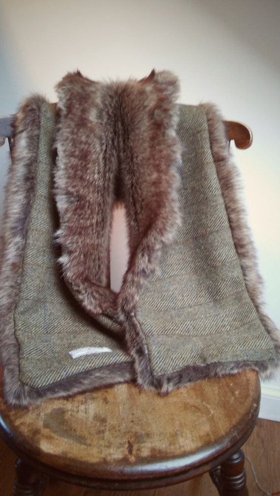 Hand Crafted Luxury Harris Tweed and fur scarf shawl