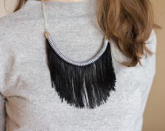 Fringe Necklace Tribal Necklace Fringe Jewelry Fringe Statement Summer Party Tribal jewelry Black and white necklace