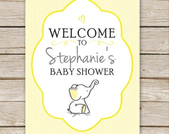 Yellow Elephant Baby Shower Welcome Sign Printable - DIGITAL FILE - Yellow Neutral Personalized Baby Shower Sign