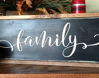 Family Sign -Framed Wood Sign - Hand painted - Gallery Wall - Farmhouse - Rustic - Home Decor - Wedding Gift