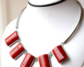 Vintage Large Bamboo Coral Beads Necklace with Silver Plated Metal, Large Coral Necklace, Large red Coral Necklace