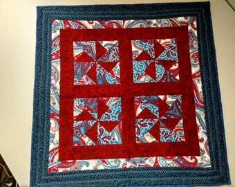 Table Topper; Multi-Blue-Maroon Table Topper; Quilted Table Topper