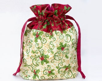Knitting Project Bag, Christmas Drawstring Bag, Crochet Bag