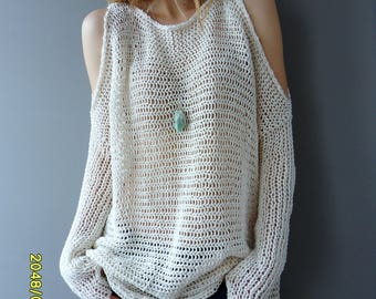 Oversized/Slouchy  knit sweater/tunic. Open shoulders  knit tunic. Loose knit womens tunic.