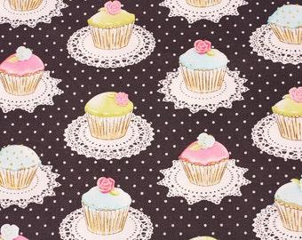 Glitter Muffin Cupcake patterned Fabric by the Half Yard