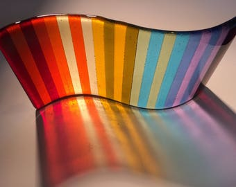 Striped fused glass wave