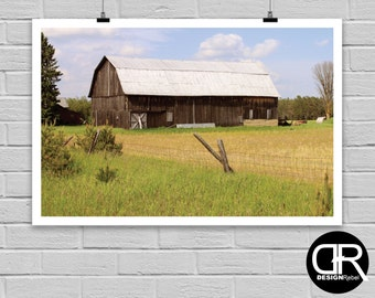 This beautiful rustic barn photograph wall art is available as an instant digital download. Perfect for any room in the house or as a gift!