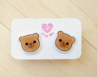 Kawaii bear stud earrings, kawaii kid gift idea, animal lover gift idea, brown steel stud earrings, funny animal earrings, handdrawn jewelry