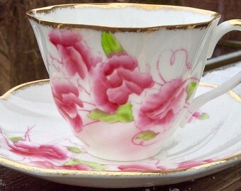 Pretty Pink Addiction-Salisbury Sweet Pea Bone China Teacup and Saucer