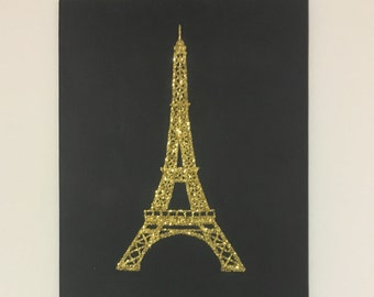 Eiffel Tower Glitter Painting | Glitter Art | France Painting | France Art | French Art | Gift for Her | Paris Painting | Paris Art